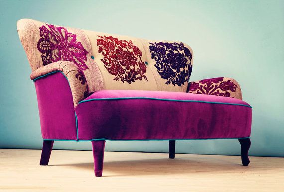 Patchwork sofa with Damask fabrics by namedesignstudio on Etsy