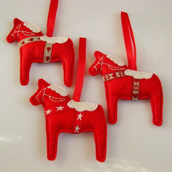 Scandinavian Felt Dala Horse Christmas Decoration Swedish