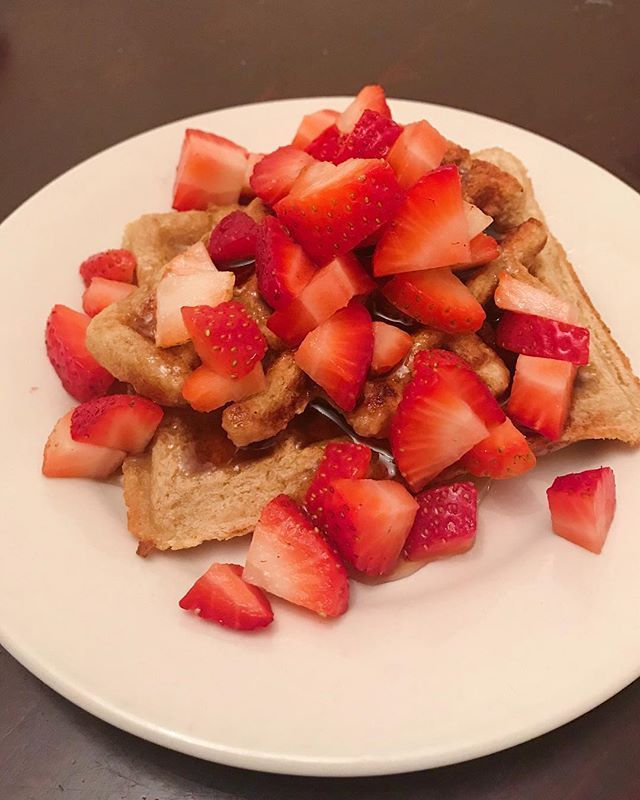 These banana waffles are my absolute FAVORITE breakfast to make. Most Sundays I make a huge batch of them and then just pop one in the toaster each weekday morning. Plus they taste way better as waffles then pancakes.  Which team are you on?  or [insert non-existent waffle emoji here]
