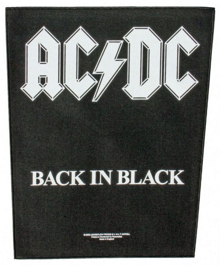 Official AC DC giant Sew-on Back Patch measuring approx 36cm x 29cm featuring the Back In Black album design Anthill Trading Officially Licensed