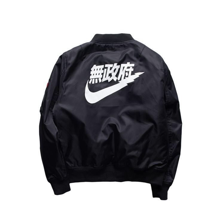 Anarquía Ma1 Bomber Jacket 2017 Primavera chaquetas de invierno Piloto prendas de Vestir Exteriores de Los Hombres Del Ejército Verde Kanji Japonés Merchandising Vuelo Escudo envío gratis