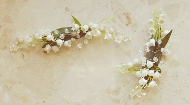 konwalie z kryształkami - spinki do włosów (1 szt) - ptaszarnia-sklep - Pozostałe