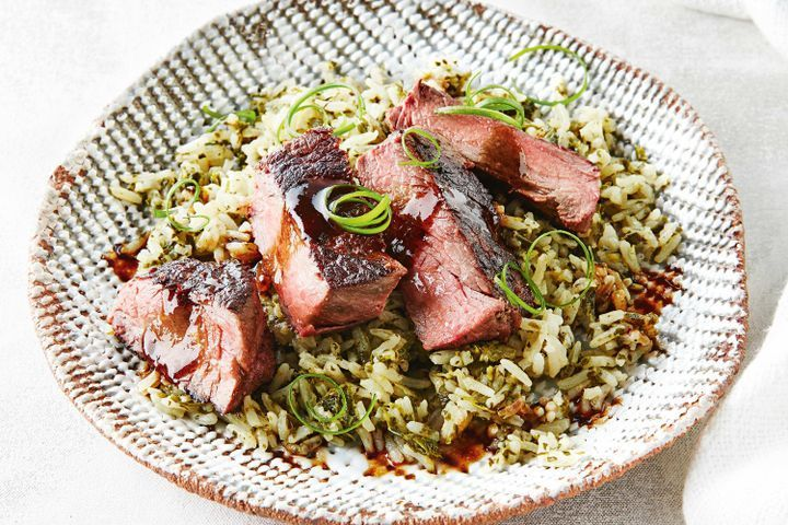 Chinese beef with green rice