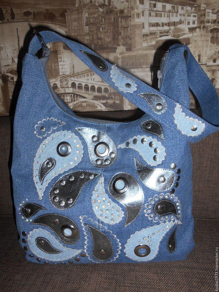 """Купить Джинсовая сумка """" Пейсли"""" - синий, пейсли, джинсовый стиль, джинсовая ткань"""