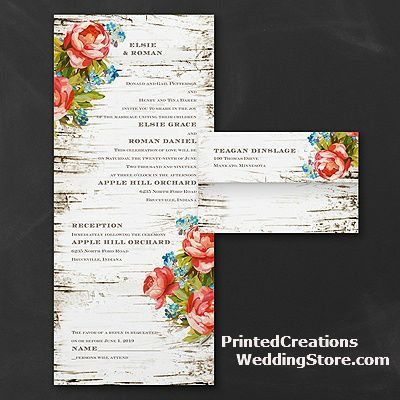 Woodsy Roses Seal U0027n Send Wedding Invitation   Romantic Rustic Invitation  With Its Woodgrain Background