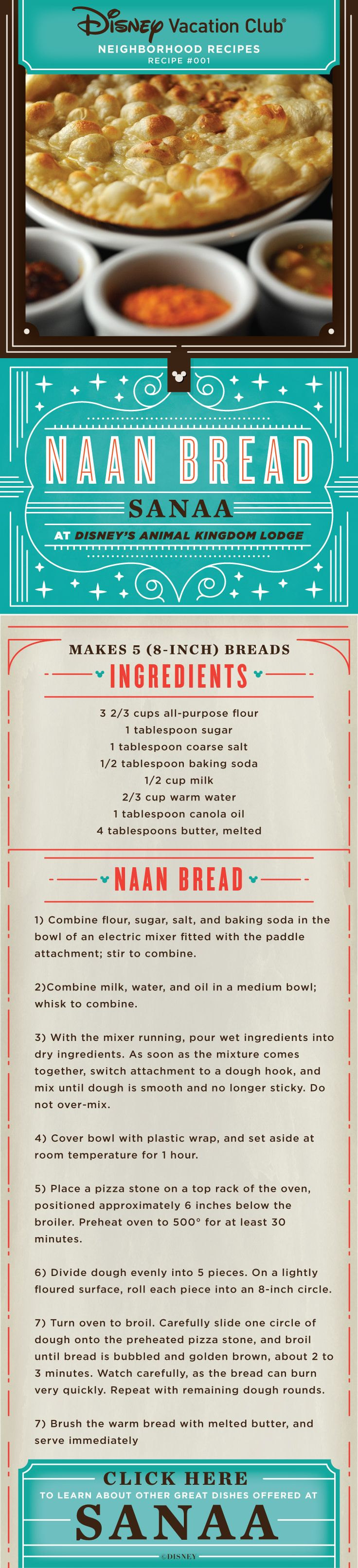 Naan Bread recipe from Sanaa at Disney's Animal Kingdom Lodge at Walt Disney World Resort.