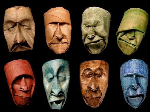 Origami masks? Really amazing!! Two of them actually look like George Bush. ;0/