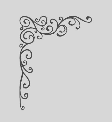 Corner Swirl Flourish Vinyl Wall Decal Frame By
