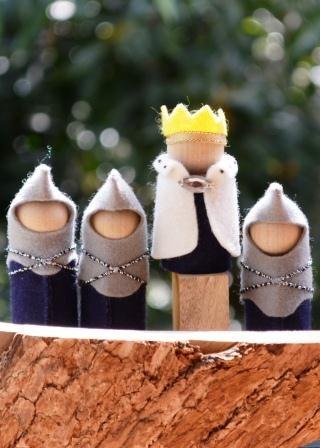 Hinterland Mama: Wool Felt Knights, a King & a woodburnt Castle