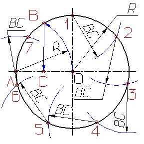 Деление окружности на равные части