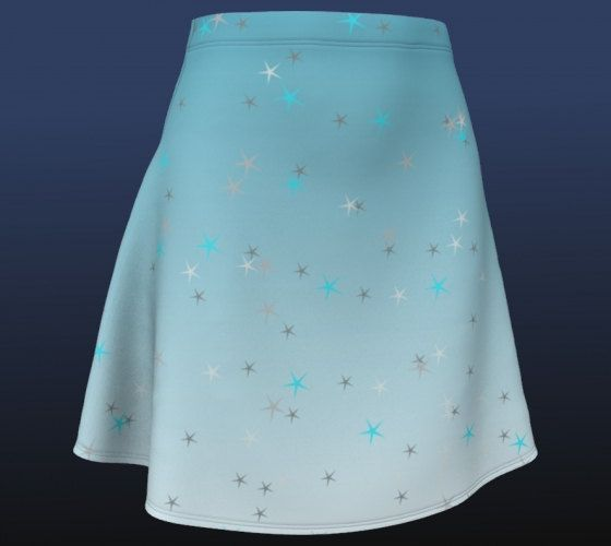 Ice blue skirt winter skies star print skater skirt blue ombre mini skirt snow star skirt stretchy size s m l ships from US ice queen frosty by RedThanet on Etsy
