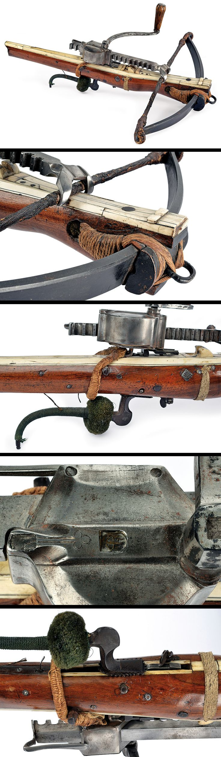 It's vintage and I suddenly can't breathe anymore.  A crossbow with its windlass, Germany, ca. 17th century.  This is a beautiful thing.