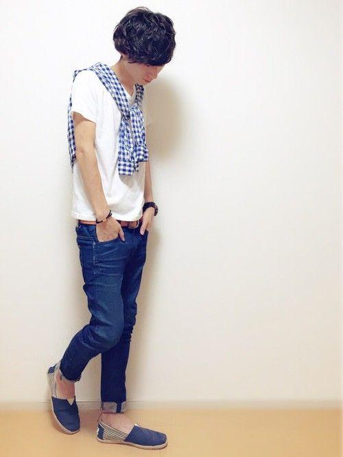 ユニクロ白Tシャツを使用した爽やか系メンズファッション