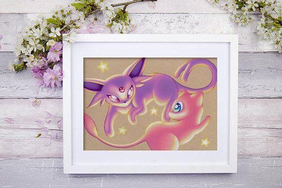 Espeon and Mew Art Signed Print Pokemon Art Pokemon Geek
