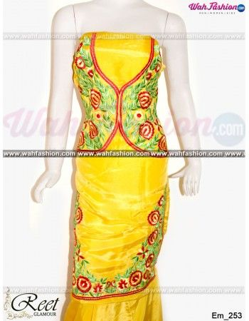 Give yourself a stylish & stunning look with this Stunning Yellow Embroidered Punjabi Suit. Embellished with Embroidery work and lace work. Available with matching bottom & dupatta. It will make you noticable in special gathering. You can design this suit in any color combination or in any fabric. Just whatsapp us for more details.  For more details whatsapp us: +919915178418