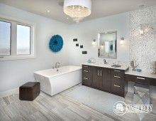 "Master Ensuite, with separate ""His & Hers"" vanities, freestanding tub, and tiled steam shower. 