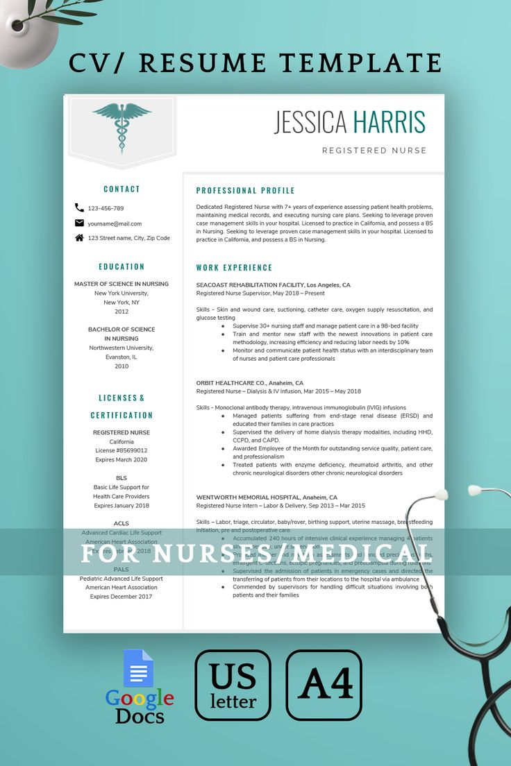 Google Docs Resume Template, Google Docs Nurse Resume