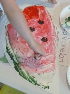Painting with watermelon rinds - use with exploring watermelon with my 5 senses