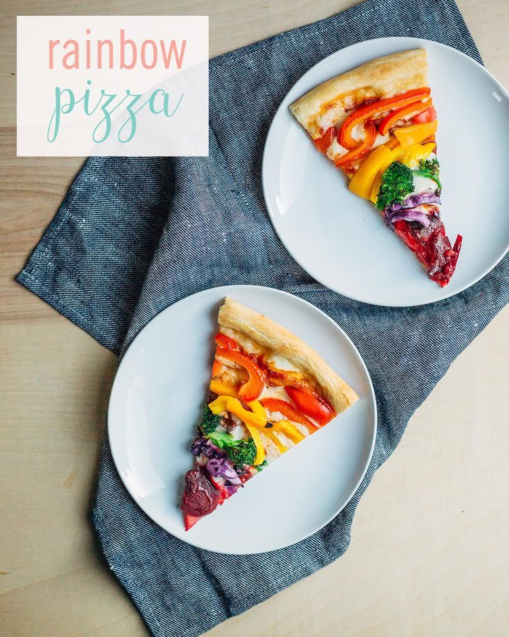This Rainbow Pizza is delicious, nutritious, AND adorable. Get your kids to love eating their vegetables with this recipe. The #rainbow of red, orange, and yellow peppers; broccoli; purple cabbage; and beets make for a perfect pizza recipe that will have everyone dying for a taste.