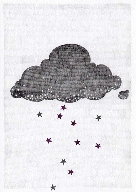 Stargazer cloud, raining stars pencil illustration // A3 print