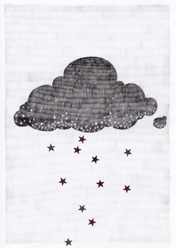 Stargazer cloud, raining stars pencil illustration // A3 print by Hyshil Sander on @Etsy via @Karlijn de Jong    http://hyshil.com/Stargazer-cloud
