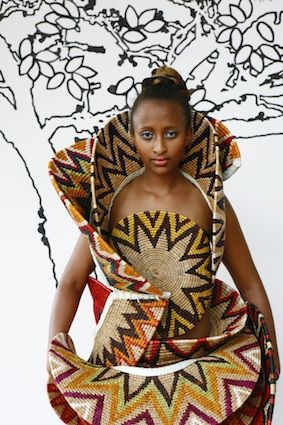 Halterneck dress made from handwoven lutindzi design placemats and deconstructed African baskets by Gone Rural. #ruraltoramp