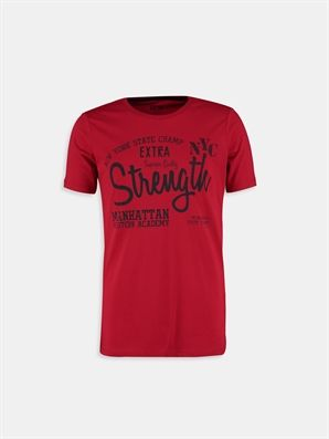 Red Printed Regular Crew Neck T-Shirt, Urun kodu: 6YF135Z6-J4L,Product Type:T-shirts,Design:Printed,Fit:Regular,Neck Type:Crew Neck,Main Fabric:%100 Cotton,