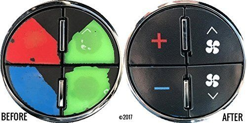 2 Pack Of AC Button Repair Kit For GMC Yukon Buick Enclave Chevy Tahoe Suburban Avalanche Silverado Terrain Denali XL - Professional Grade Vinyl Overlay Decals - Repair Your Ugly Buttons In Minutes - → 2 Pack Free Shipping With Tracking With Easy To Follow Instructions! → Easy To Install Vinyl Decals To Repair Your Worn AC Button Controls → Closest Match To Factory Controls Without Replacing The Entire Control Unit → 100% Money Back Guarantee From Big Country Whole...