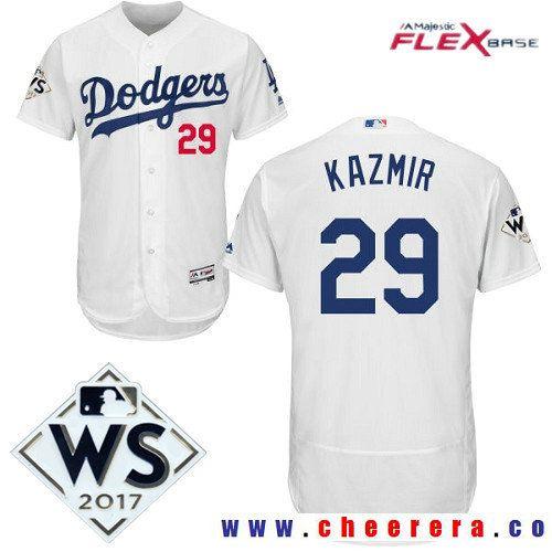 Men's Los Angeles Dodgers #29 Scott Kazmir White Home 2017 World Series Patch Majestic Flex Base MLB Jersey