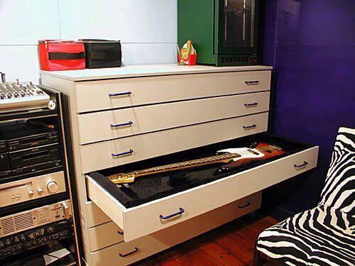 Drawer bass & guitar storage. This is what I need in my life. More