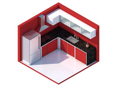Isometric Kitchen by Gustavo Henrique