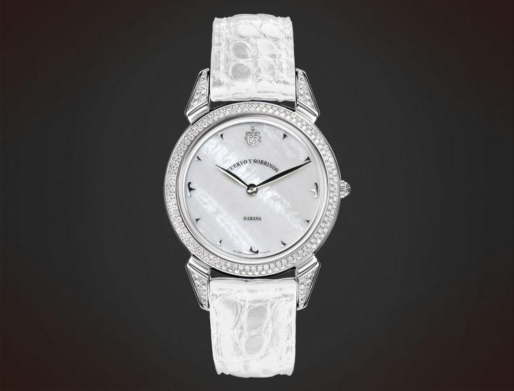Cuervo y Sobrinos Historiador Lady. Diamonds white mother-of-pearl. #watch