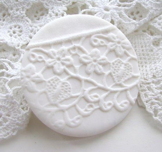 lace imprint polymer clay brooch by shabnam saleem