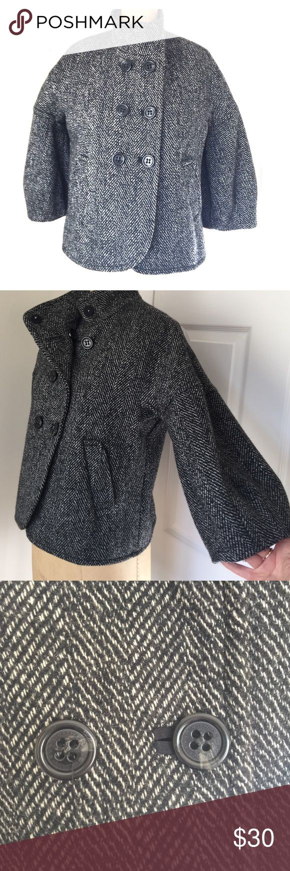 "BCBGMaxazria wool jacket Black and white herringbone short wool jacket by BCBGMaxazria! Looks great with black high waisted pants or skirt, 3/4 bell sleeves, beautifully lined, welt buttonholes. 21"" length from back neck seam to hem. BCBGMaxAzria Jackets & Coats"
