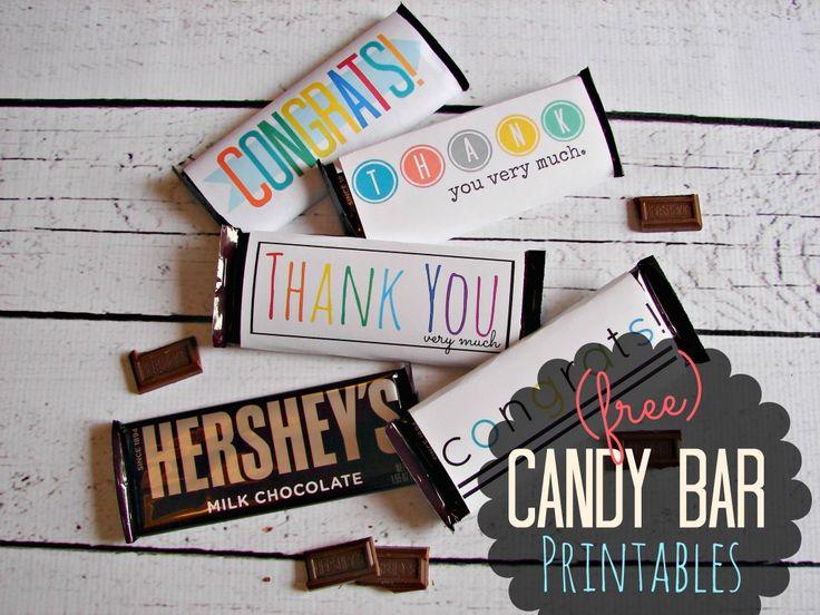 "Free Candy Bar Wrapper ""Thank You"" and ""Congrats"" Printables!  |  A Girl and a Glue Gun"