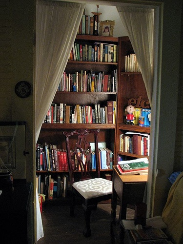 Tiny 6 X5 Studio Apartment Library With Book Shelving Small Desk And Chair Originally A Storage Closet Kaye R S Home Rooms