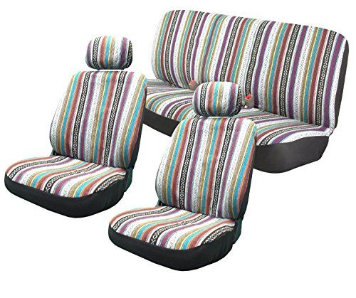 Baja Inca 8pc Saddle Blanket Seat Covers Set Front Pair Bench. For product info go to:  https://www.caraccessoriesonlinemarket.com/baja-inca-8pc-saddle-blanket-seat-covers-set-front-pair-bench/