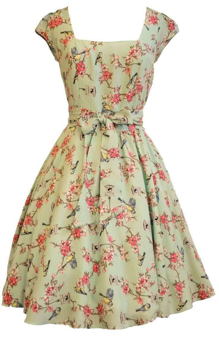 Vintage Styled Dress- Birdcage Print