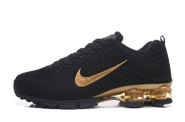 Nike Air Shox Flyknit Black Gold Shox