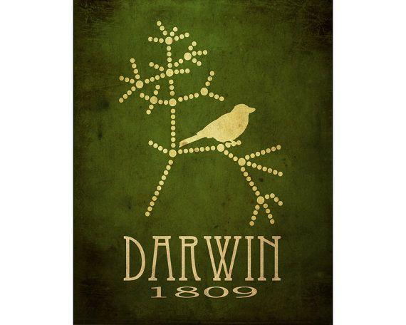 Darwin Evolution Poster, Tree Of Life, Scientist Art Poster, Steampunk Rock Star Scientist, Geek Office Decor