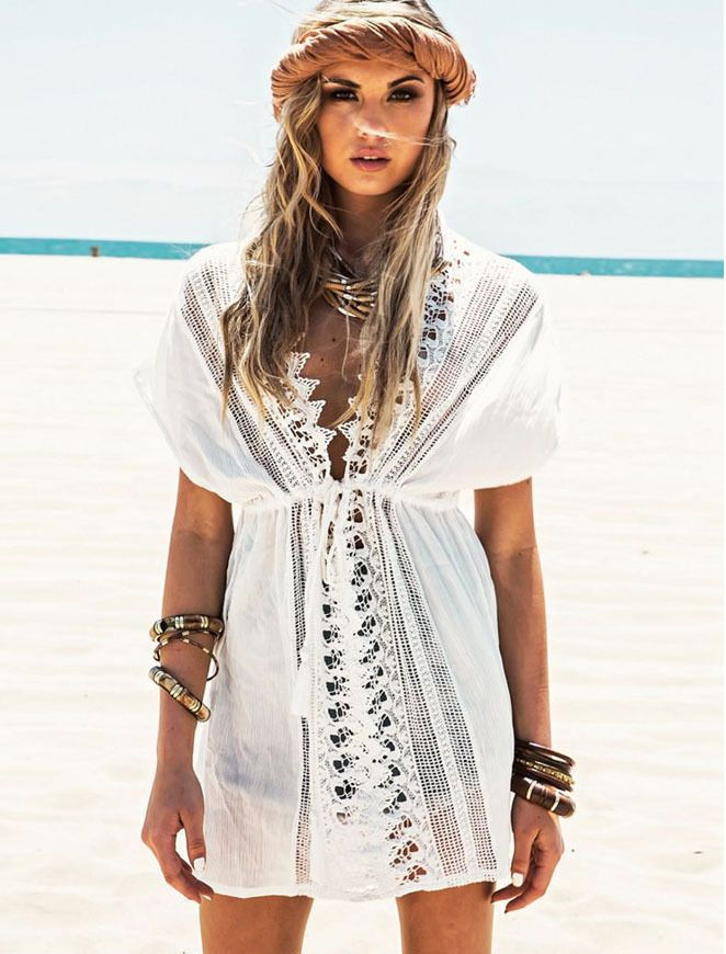 Ibiza Sommerkleid Strandkleid in weiß im Boho-Hippie look one size