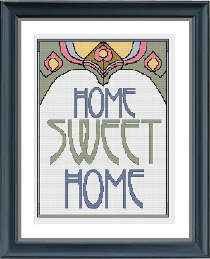 cross stitch pattern home sweet home art deco cross. Black Bedroom Furniture Sets. Home Design Ideas