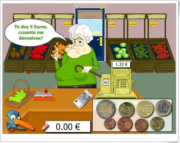 """""""¿Cuánto me devuelves?"""" es un juego, de childtopia.com, en el que el vendedor ha de devolver el sobrante del dinero que se paga por la compra. Se practica el uso de billetes y monedas con euros y el cálculo mental de diferencias."""