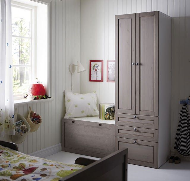 stuva system by ikea in a more traditional cabinet door-- love this kids room!