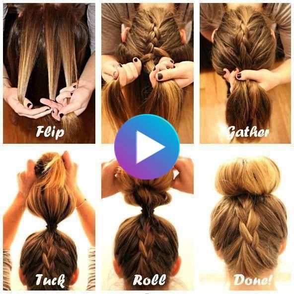 How To Diy Upside Down French Braid Bun Hairstyle Video In 2020 Braided Bun Hairstyles Braided Bun Hairstyle Video Upside Down French Braid