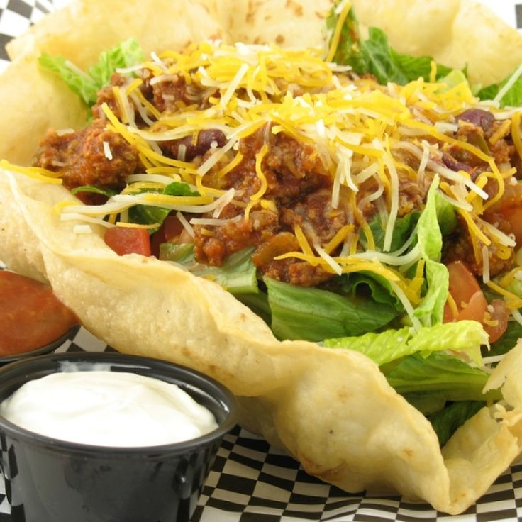 A simple recipe for Taco Bowls that is always a meal that is fun to prepare and eat.. Taco Bowls Recipe from Grandmothers Kitchen.