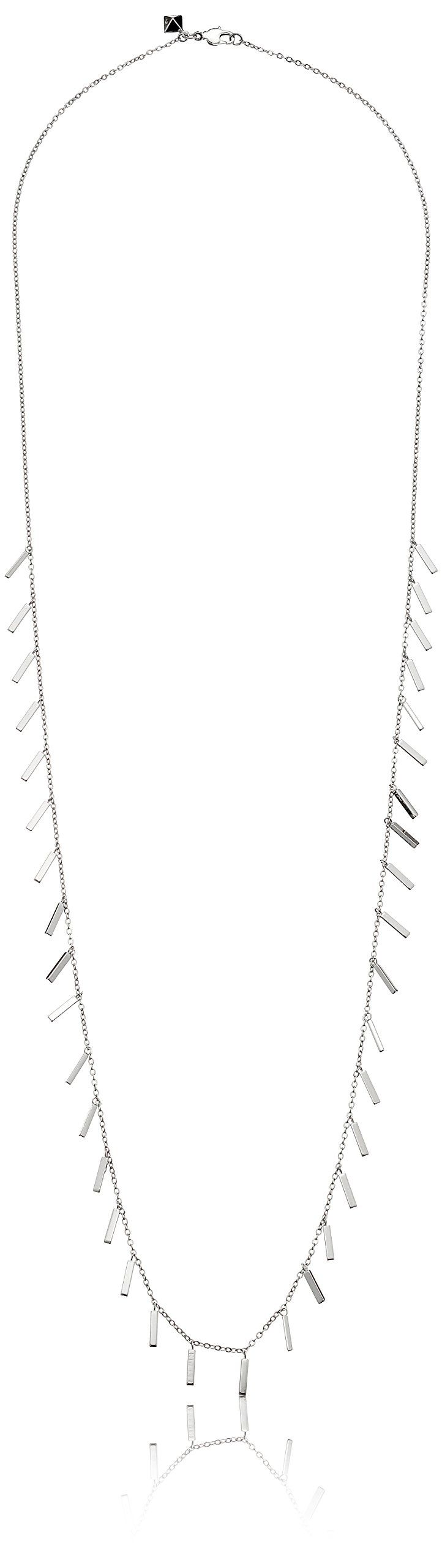 "Rebecca Minkoff ""Bar Essentials"" Rhodium Long Bar Fringe Strand Necklace. Plated brass necklace with fringe bar tassels at center and sides. 32"" cable chain with lobster-claw clasp. Imported."