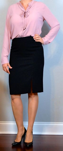 outfit post: pink bow blouse, black pencil skirt, black pumps | Outfit Posts