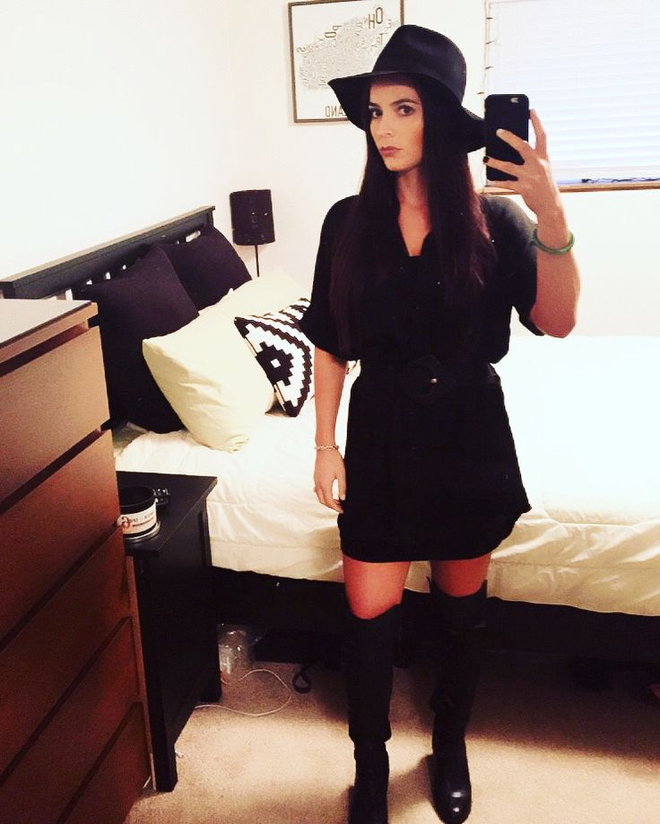 All black, hat, over the knee boots, work outfit, dress shirt with belt, chic