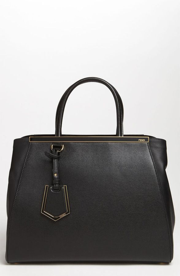 $2,350, Black Leather Tote Bag: Fendi 2jours Elite Leather Shopper. Sold by Nordstrom. Click for more info: https://lookastic.com/women/shop_items/9739/redirect